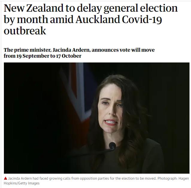 奥克兰新增4例之后发现聚集疫情,新西兰推迟大选4周