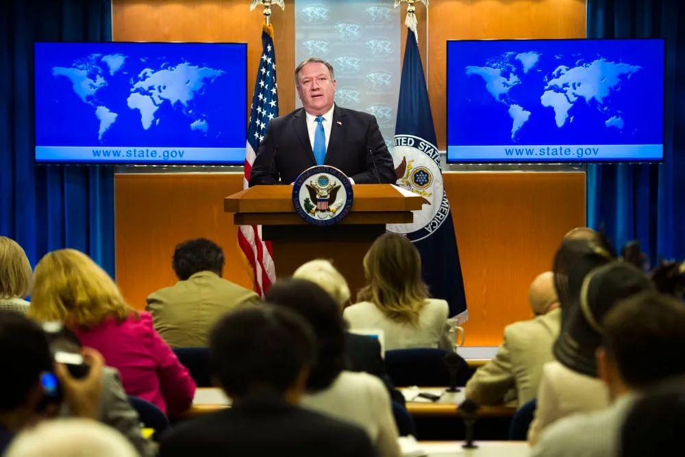 ▲资料图片:美国国务卿蓬佩奥出席新闻发布会。(新华社/美联)
