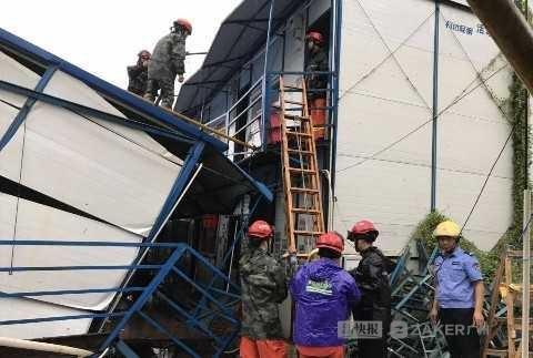 广东省中山市:潭州赫伦堡施工现场坍塌 火场紧急