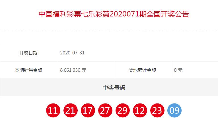 中国福彩七乐彩全国开奖公告(第2020071期)