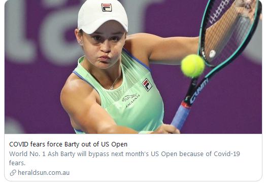 女子排名世界第一的巴蒂此前已经决定放弃美网。
