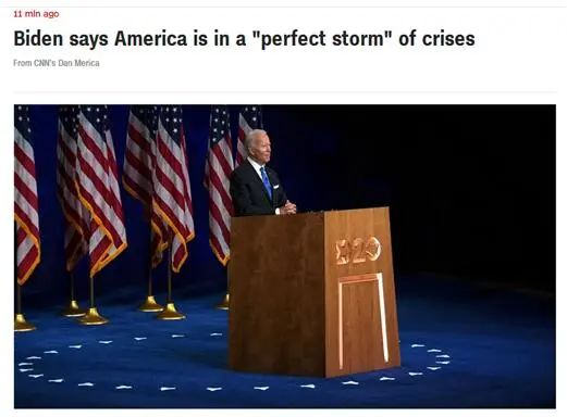 """CNN:拜登说,美国正处于危机带来的""""完美风暴""""中"""