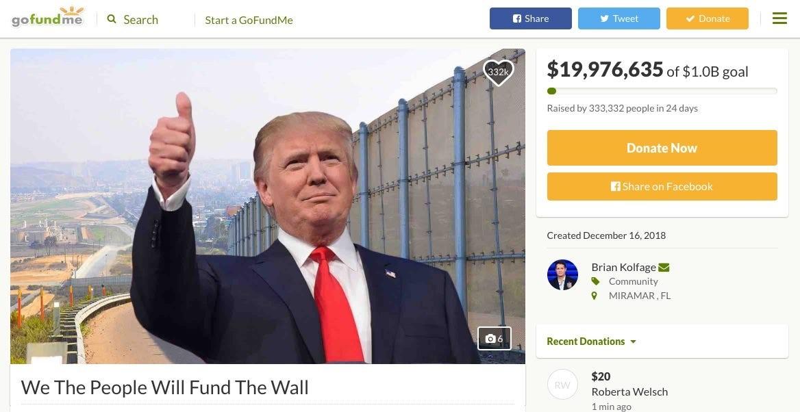 """布莱恩·科尔法奇在众筹网站gofundme.com上发起的""""我们人民来建墙""""活动。这个项目在2019年1月已经被网站撤下。"""