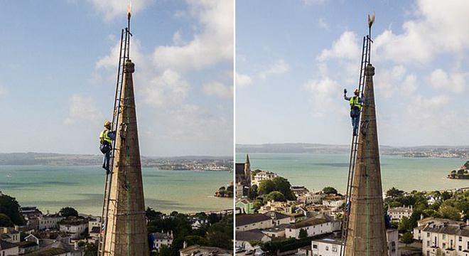 英国一牧师为筹维修费克服恐高症爬上教堂尖顶