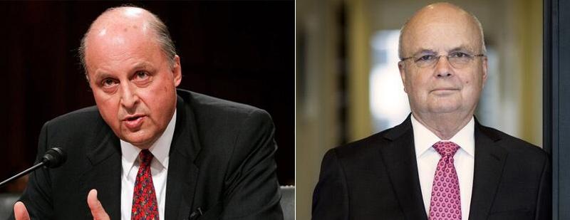部分声明签署者名单;签署者美国前国家情报总监约翰·内格罗蓬特(左)、前中央情报局长迈克尔·海登(右)