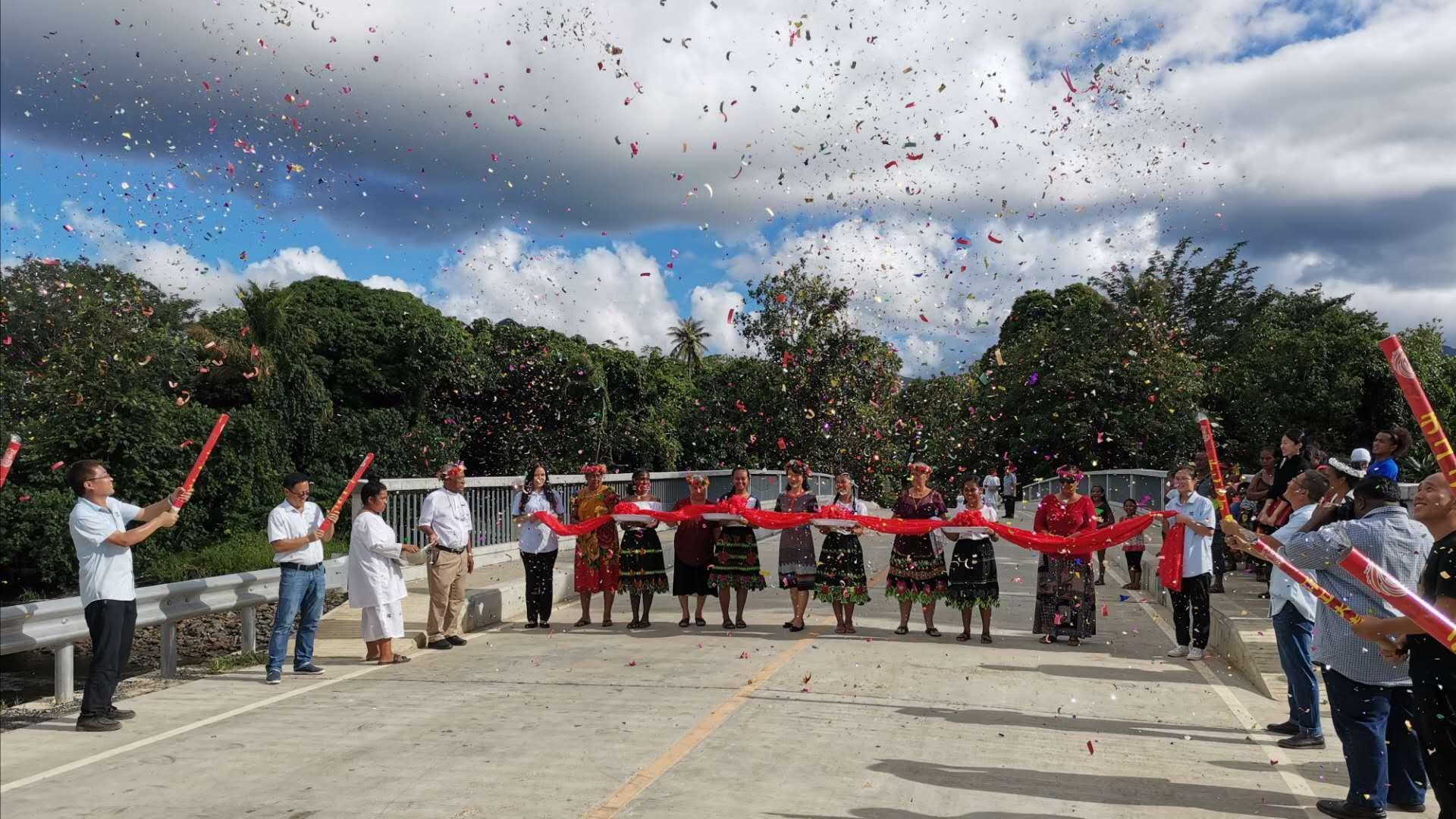 中国政府援密克罗尼西亚联邦卡玛桥改造项目交付启用仪式隆重举行