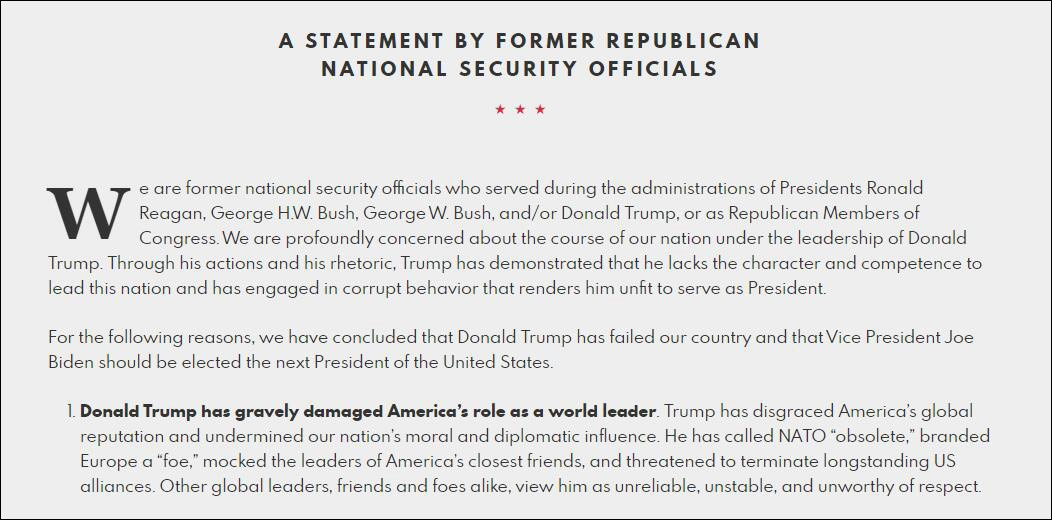 共和党前国家安全官员的一份声明