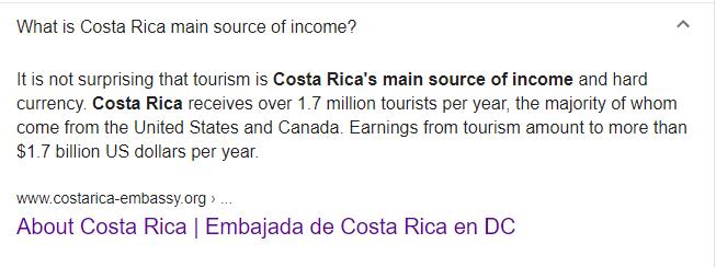 (截图为美国谷歌搜索引擎给出的来自哥斯达黎加驻美国大使馆的资料)