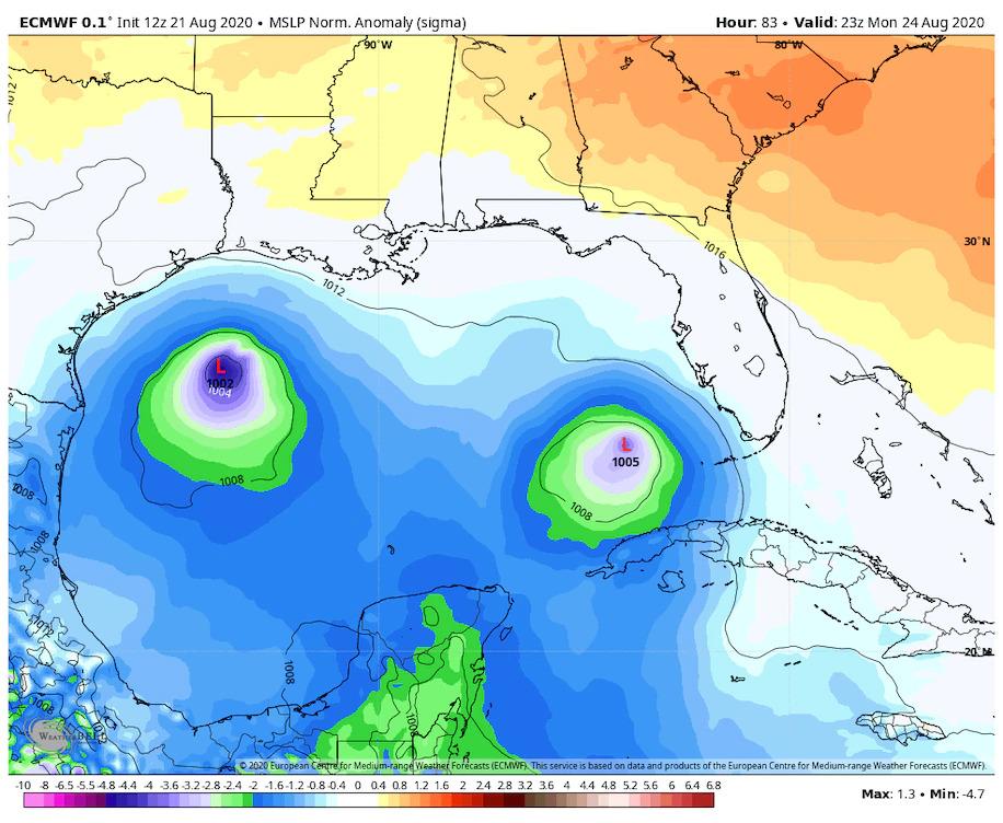 欧洲研究模型预测,下周一美国南部沿岸将同时出现两场飓风