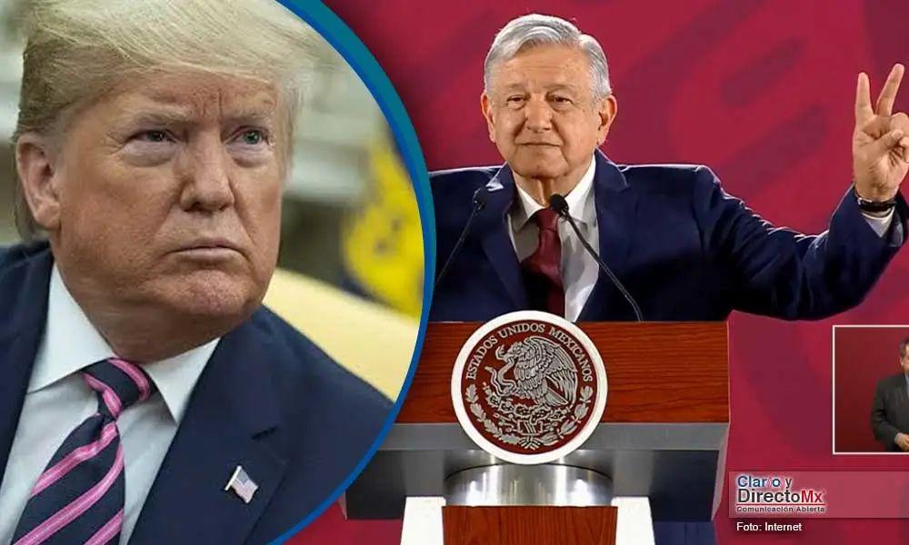 图为美国总统特朗普 (左) 墨西哥总统 洛佩斯 (右)