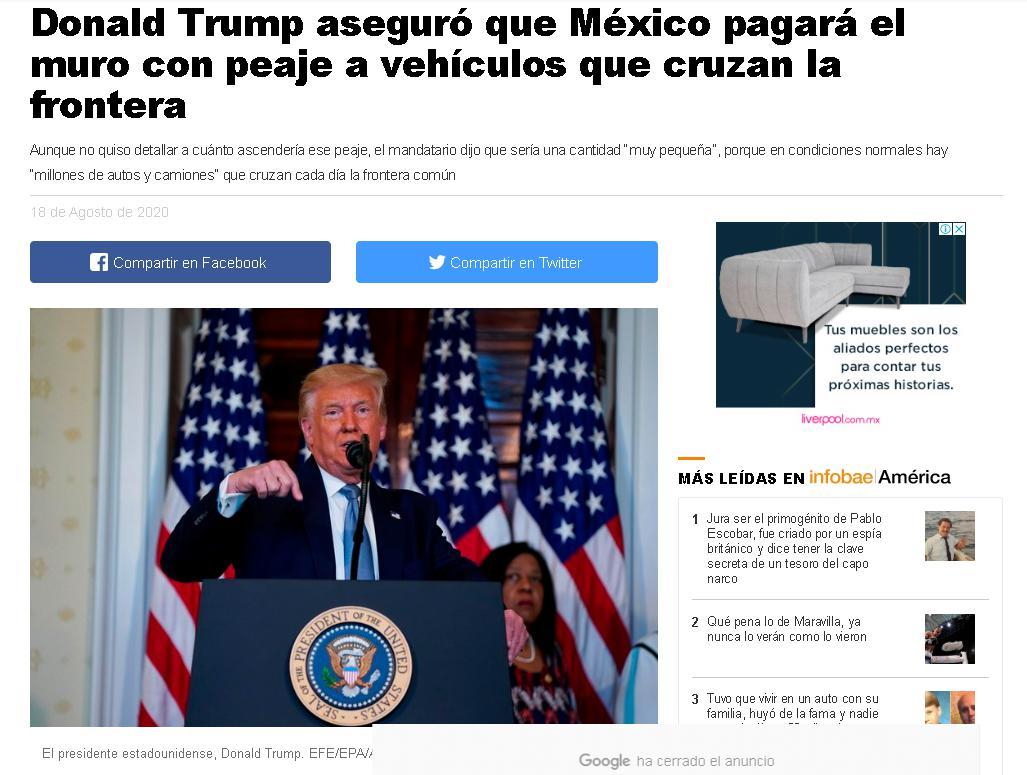 △图为墨西哥媒体相关报道 标题:特朗普确保墨西哥为边境墙买单 过境车辆收取过境费