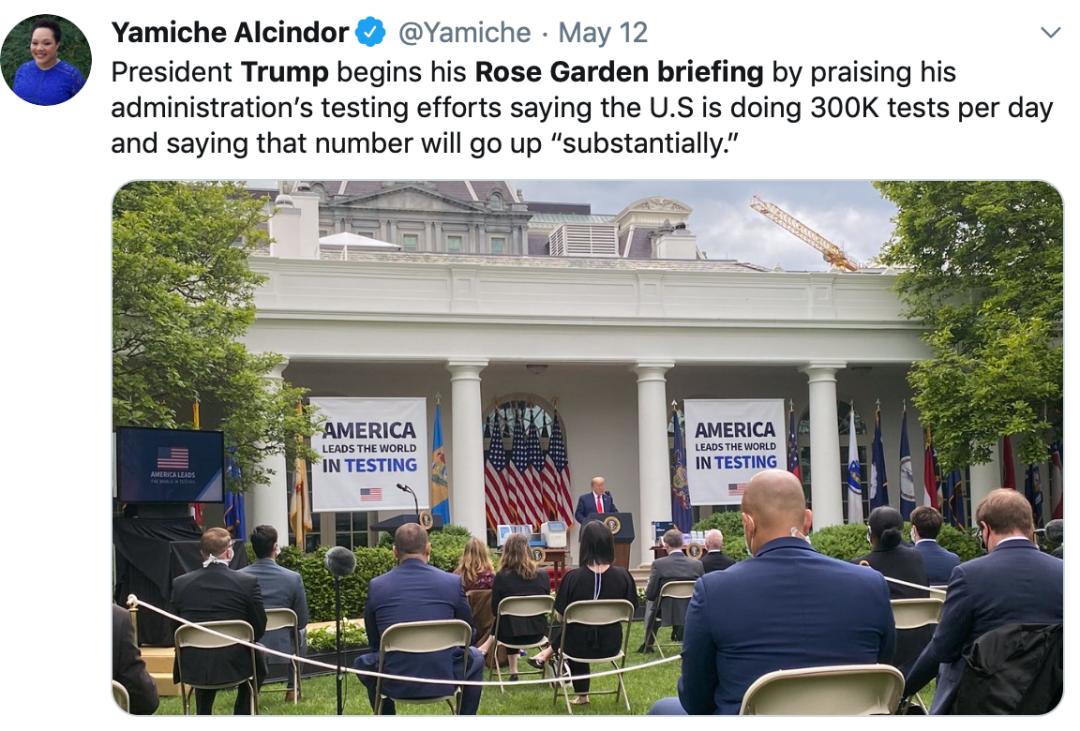 特朗普在玫瑰园举行记者会。