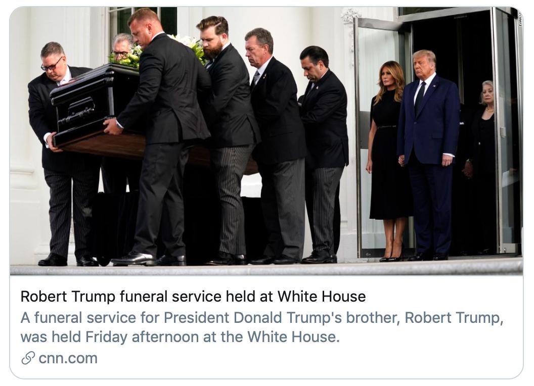 罗伯特·特朗普葬礼在白宫举行。/CNN报道截图