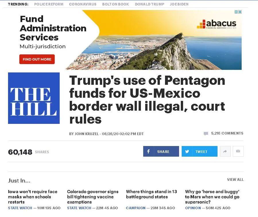 图为美国媒体 标题 法院裁定:特朗普挪用国防部资金建造边境墙涉嫌违法