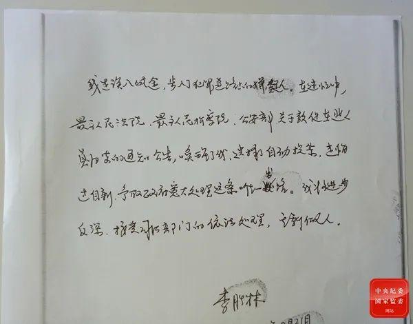 李胜林写下的《我为什么选择投案自首》,图为内容节选。