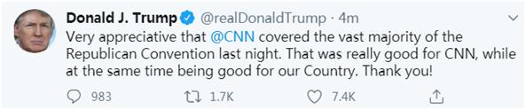 活久见!特朗普夸CNN