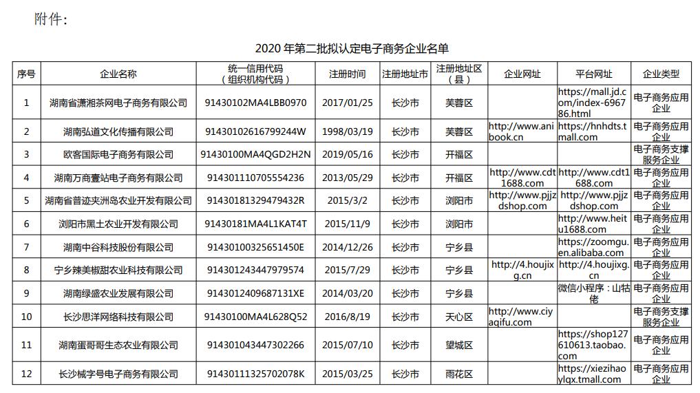 2020年第二批湖南电商企业任命名单出炉