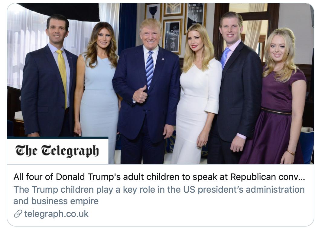 特朗普四个成年子女都将在共和党大会上发表演讲。/《电讯报》截图