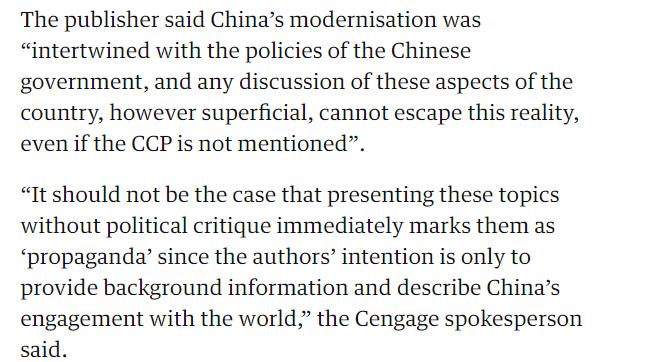 截图来自炒作此事的英国《卫报》澳大利亚版的报道中,出版方表示介绍中国不可能绕开中国政府