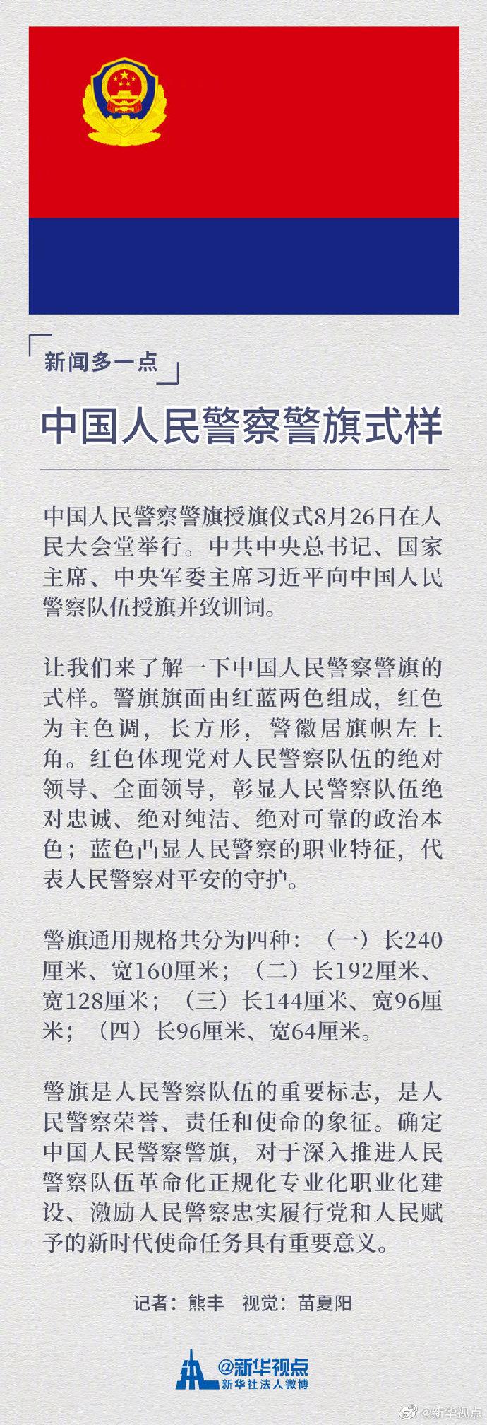 中国人民警察警旗式样公布(图)