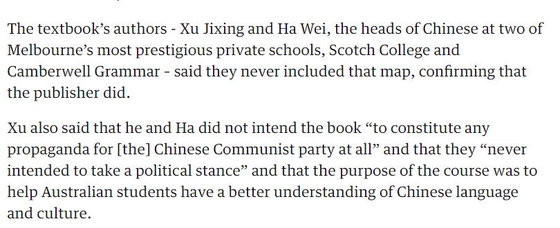 图为报道中两名教科书的华裔作者被迫澄清他们没有给中国政府做宣传的意思,只是希望让读者更好的了解中国语言和文化