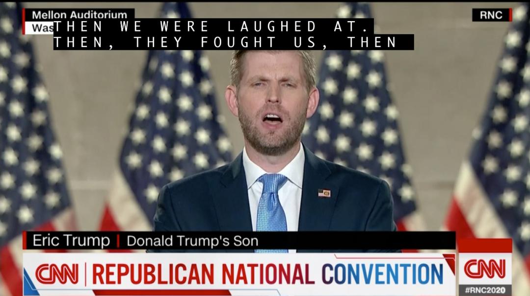 埃里克发表演讲。/CNN视频截图