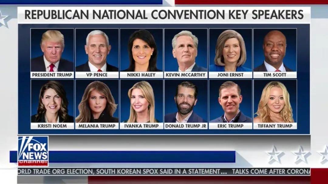 """共和党大会演讲人姓""""Trump""""的最多。/福克斯报道截图"""