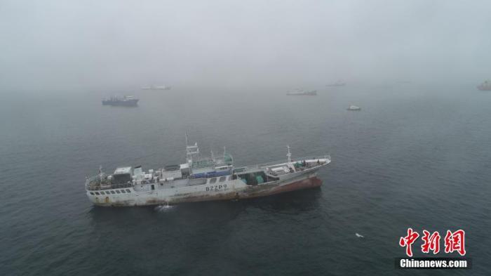 大量船舶在烟台港锚地避风。 郝光亮 摄