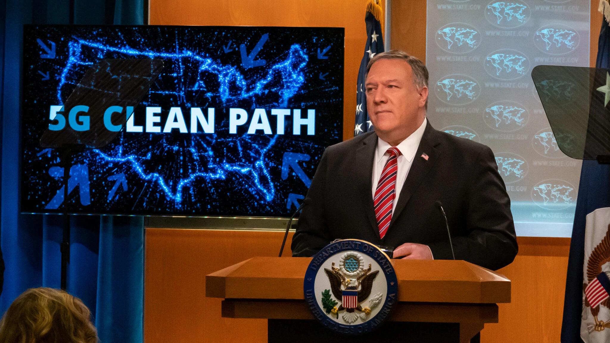 """蓬佩奥宣布实行""""干净5G路径"""",图自美国务院"""