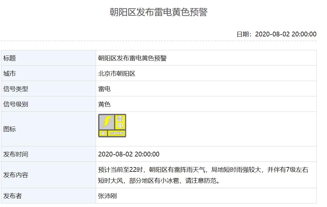 北京多区发布雷电预警,通州区上空电闪雷鸣