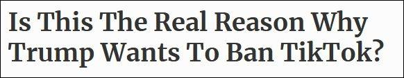 """""""福布斯""""在1日的评论中猜测,特朗普封禁TikTok可能并非被某些""""高尚的政策""""驱使,而单纯是因为他的感情""""受到伤害"""""""