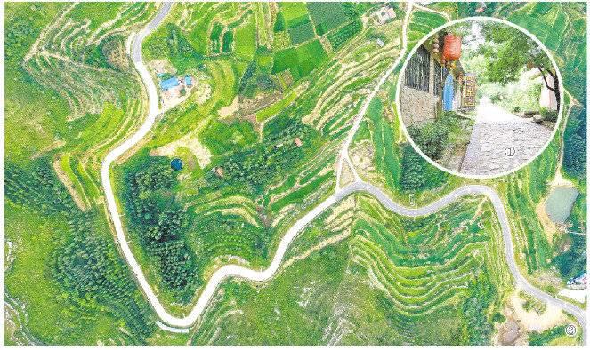 图①:上磨石岭村村内道路图。