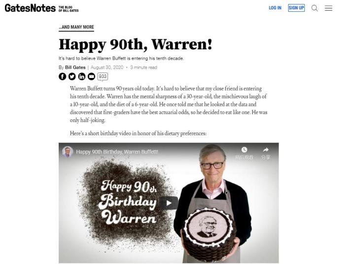 金洋3注册:盖茨亲手做蛋糕祝福巴菲特90岁生日