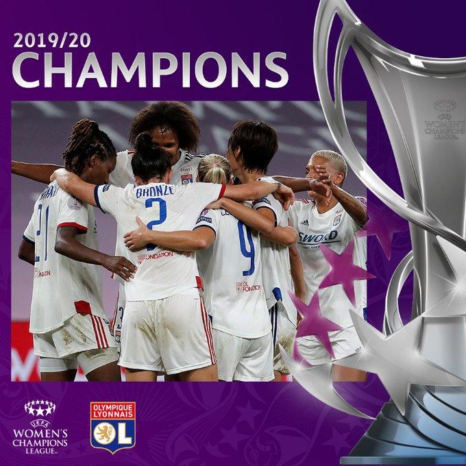 里昂夺冠海报。图片来源:女足欧冠联赛