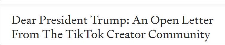 大V联名致信特朗普:TikTok首度挑战了Facebook垄断