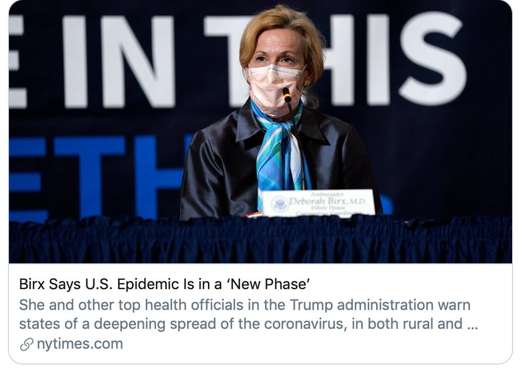 """伯克斯称美国疫情进入""""新阶段""""。/《纽约时报》报道截图"""