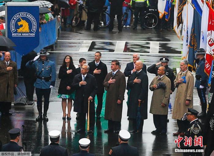 资料图:当地时间2014年4月15日,美国在波士顿举行官方纪念波士顿马拉松爆炸案一周年活动,美国时任副总统拜登到现场参加。