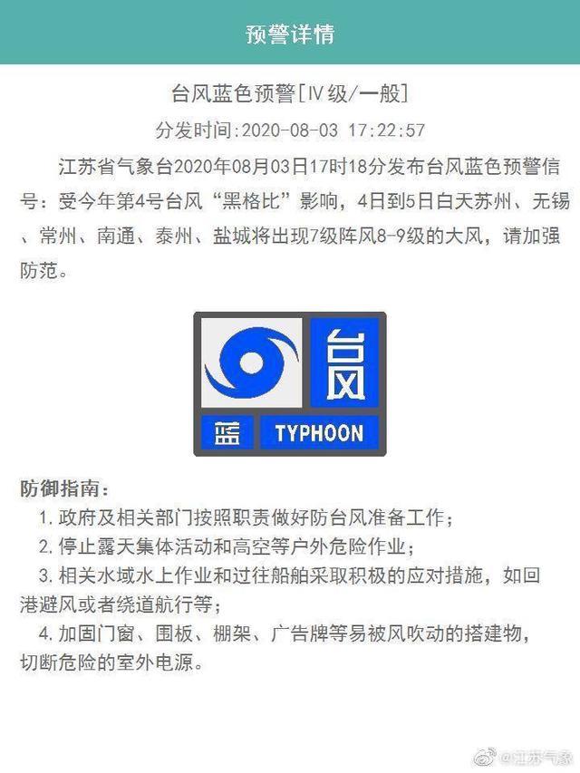 江苏气象台发布台风蓝色预警信号 从4日