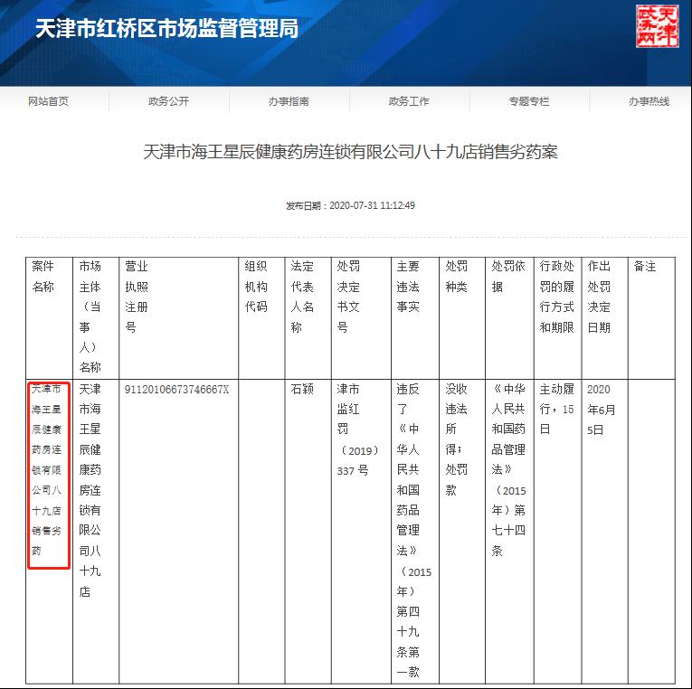 """天津市海王星辰健康药房八十九店""""销售劣药""""被罚"""