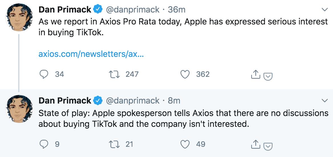 """苹果否认""""有兴趣""""收购TikTok:公司没有讨论过"""