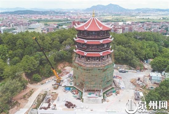 晋江八仙山公园八仙阁工程进入收尾阶段