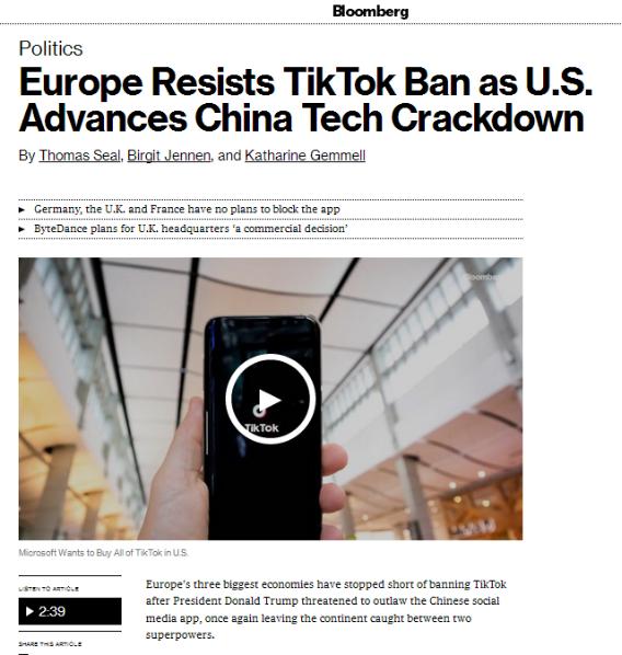 """美国铁了心封禁TikTok 但英法德""""没有跟"""""""