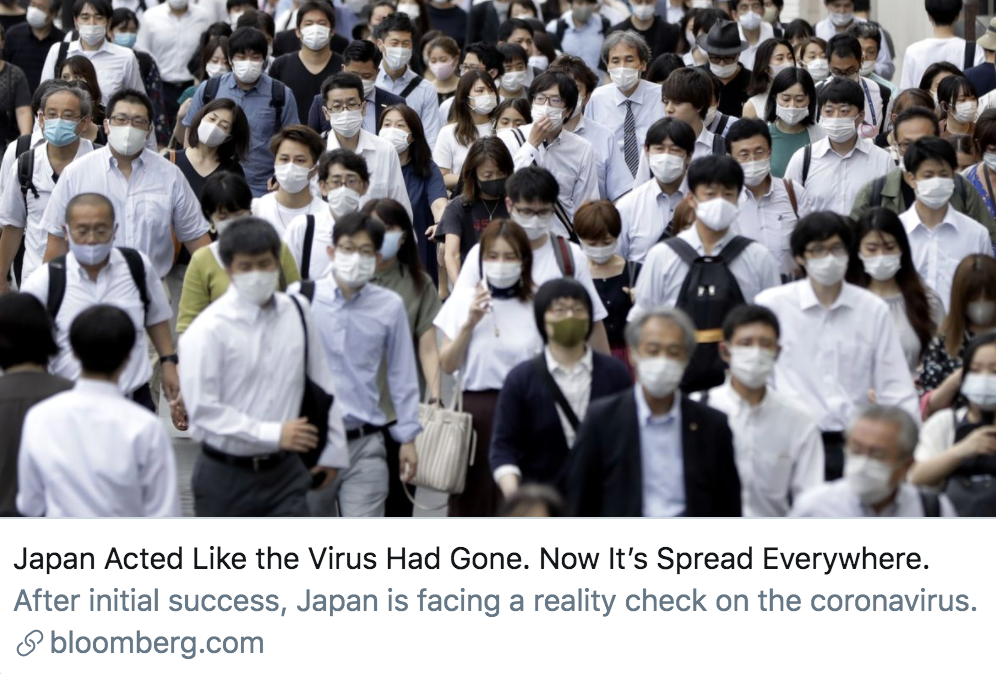 """日本表现得像新冠病毒已经""""消失""""了,但现在,病毒无处不在。/彭博社报道截图"""