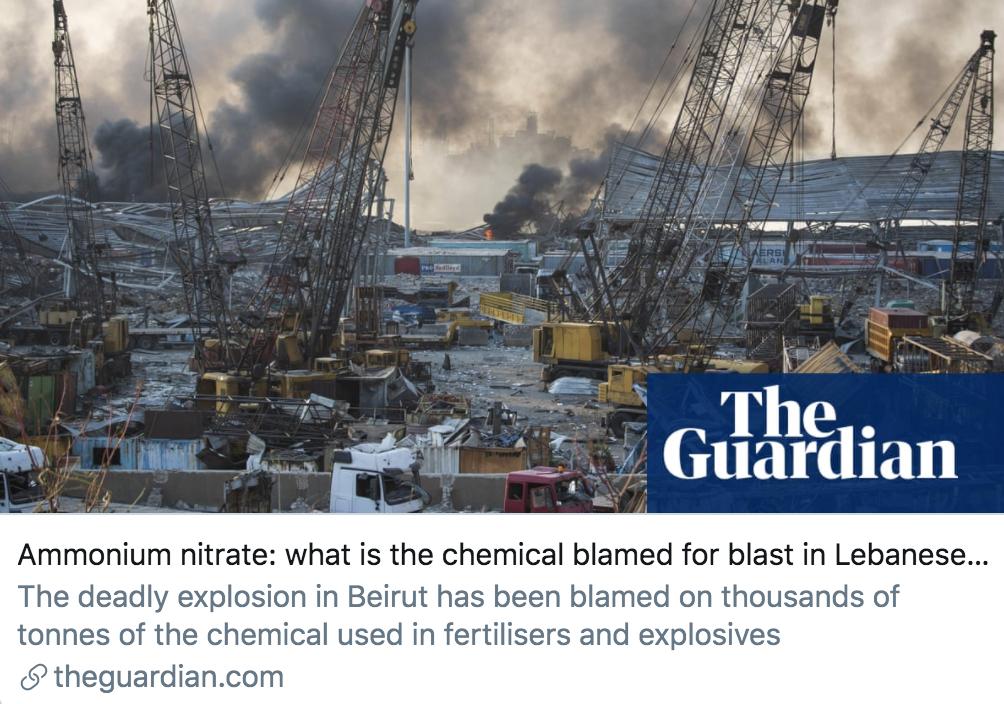 黎巴嫩首都爆炸事件应该归咎于什么化学物质?/ 《卫报》报道截图