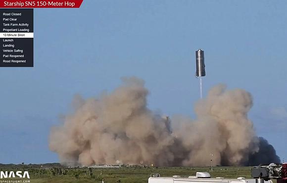 SpaceX星际飞船SN5原型机测试成功:飞行高度150米