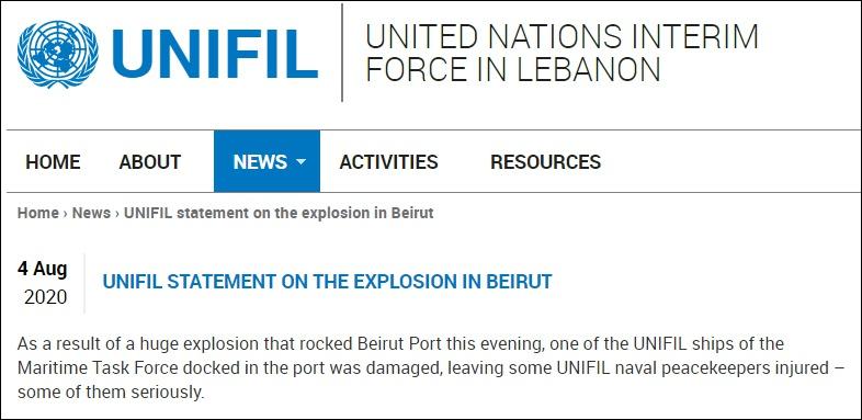 联合国驻黎巴嫩维和部队一艘军舰在爆炸中受损,有水兵重伤