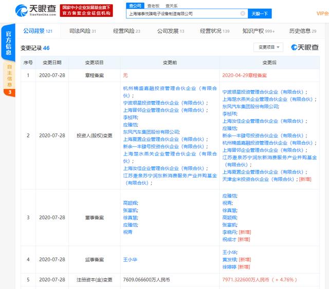小米集团旗下的天津金米入股车联网公司——上海博泰悦臻电子设备制造有限公司