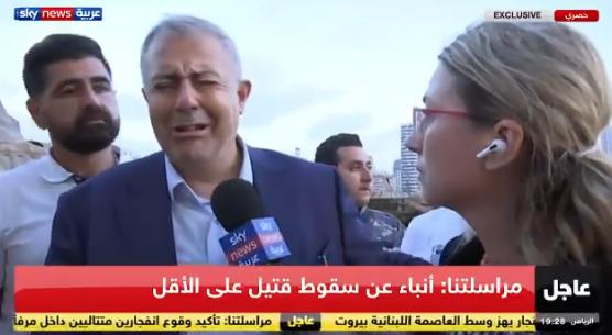 贝鲁特省长马尔万·阿布在现场讲话时哽咽哭泣(视频截图)