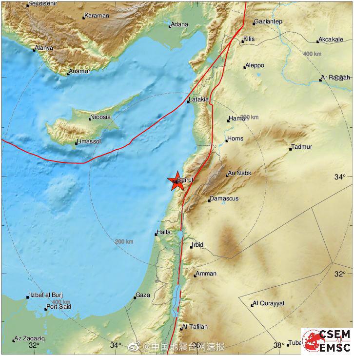 欧洲地震台记录到贝鲁特爆炸:震级3.3震深0公里