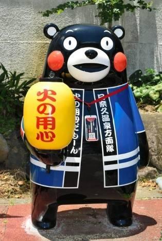 """日本熊本県八代市设立49座""""熊本熊""""像 待海外游客到访"""